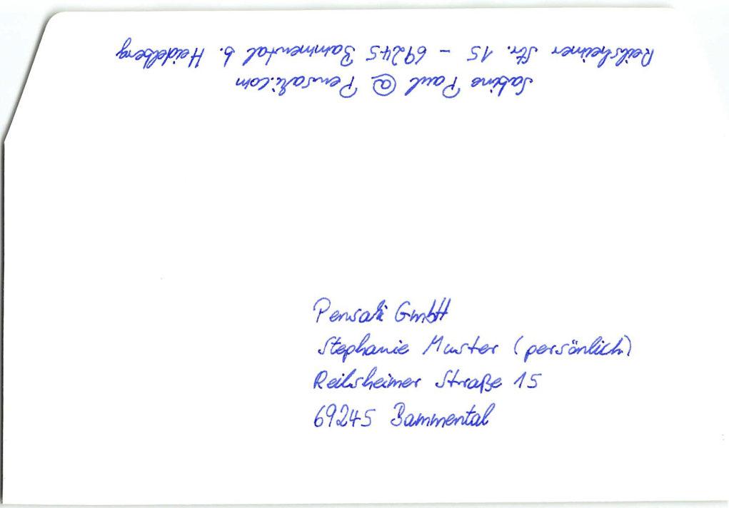 Kuvert2S Standard Adressierung Handschrift inkl. Absender