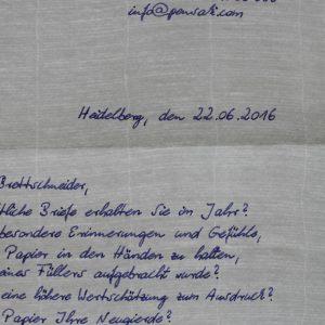 Brief handgeschrieben auf Büttenpapier - Pensaki