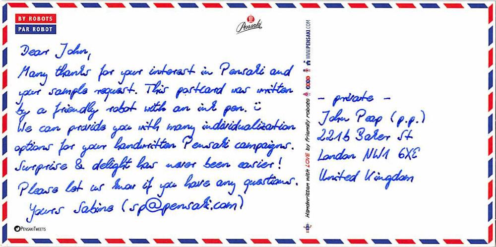 handwritten postcard robot europe pensaki