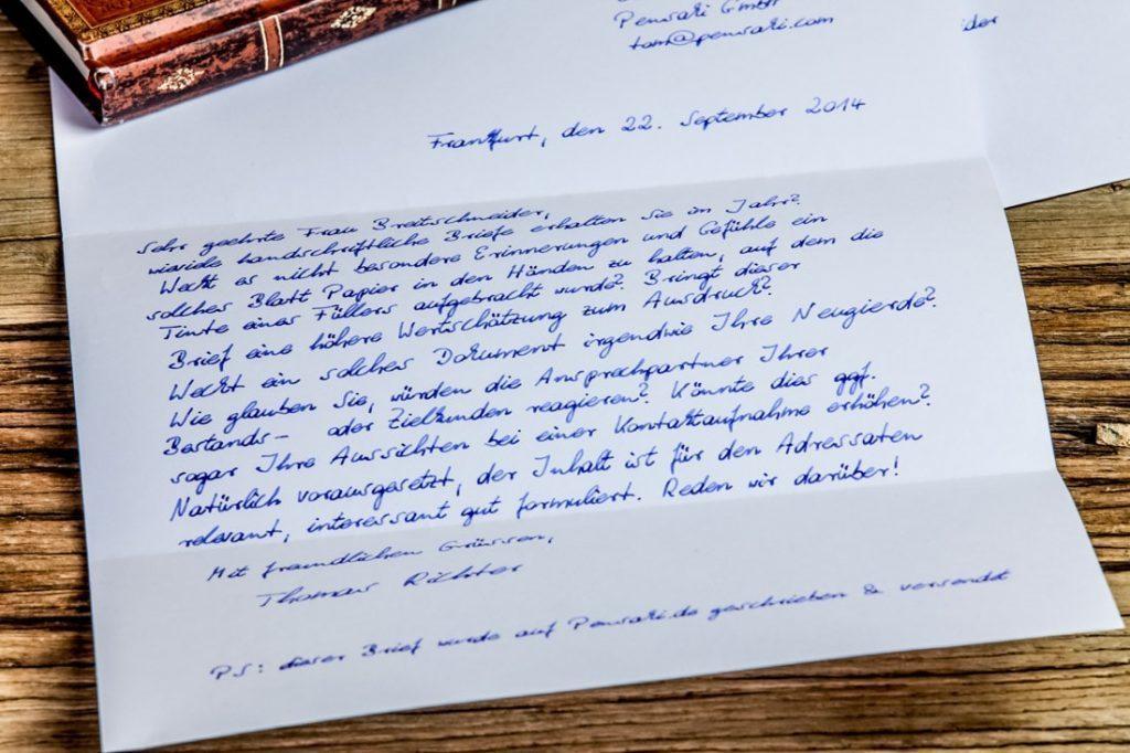 Werbebrief in Handschrift 1.000 Zeichen im Kuvert von Pensaki