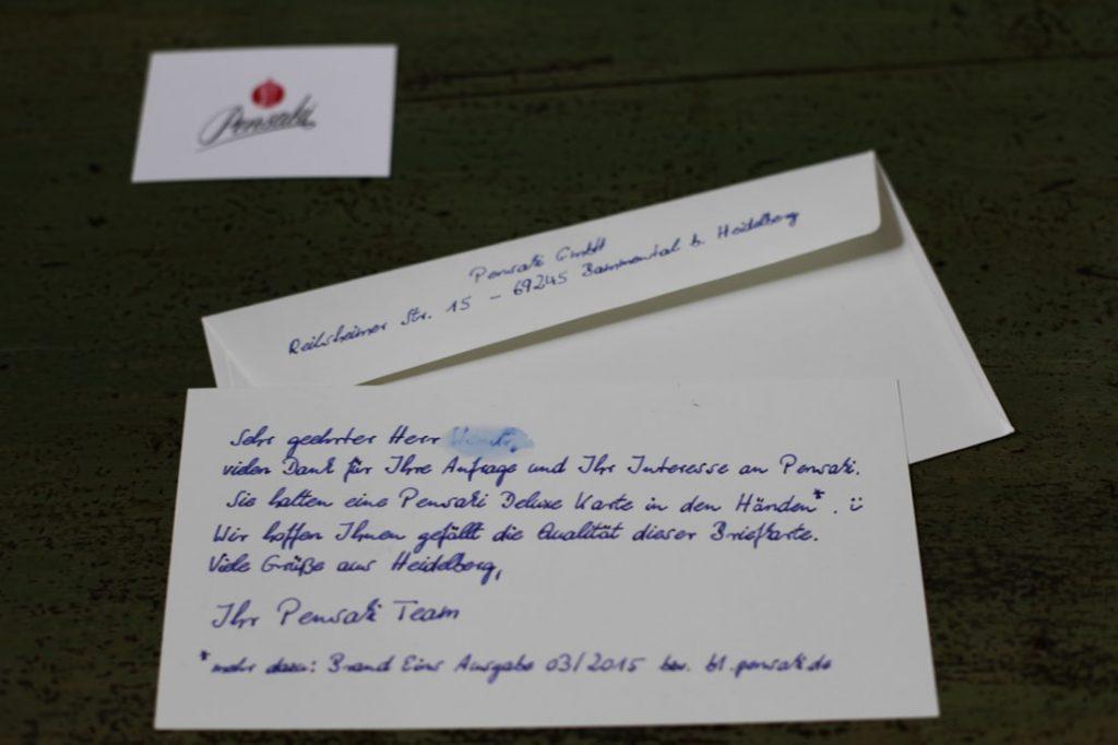 Exklusive Dankeskarte in Handschrift 400 Zeichen im Kuvert von Pensaki