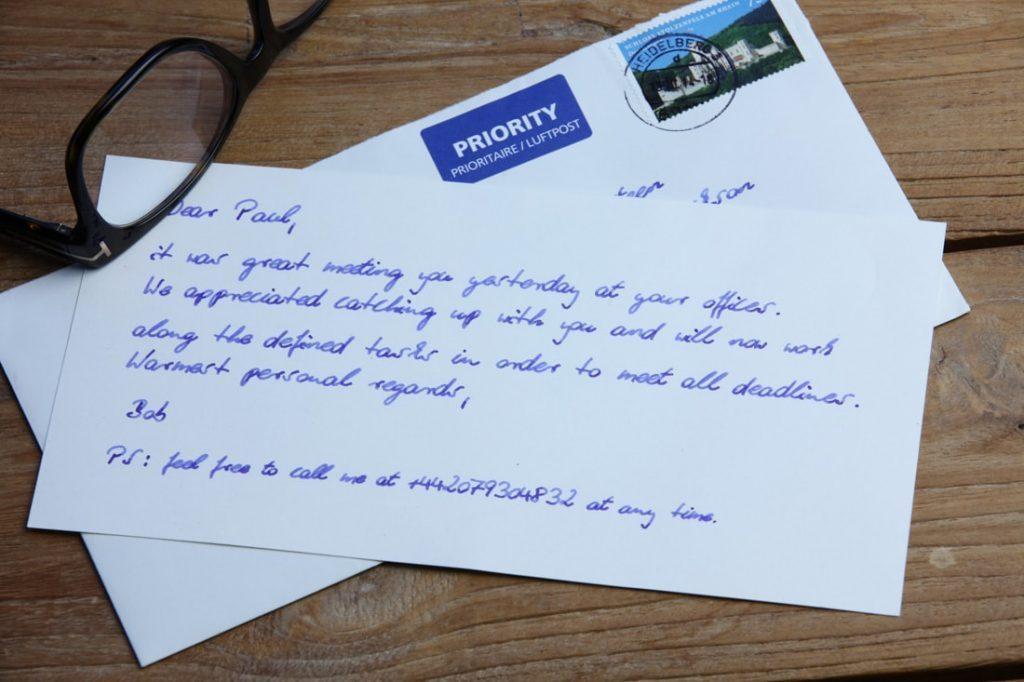 Einladungskarte in Handschrift 400 Zeichen im Kuvert von Pensaki