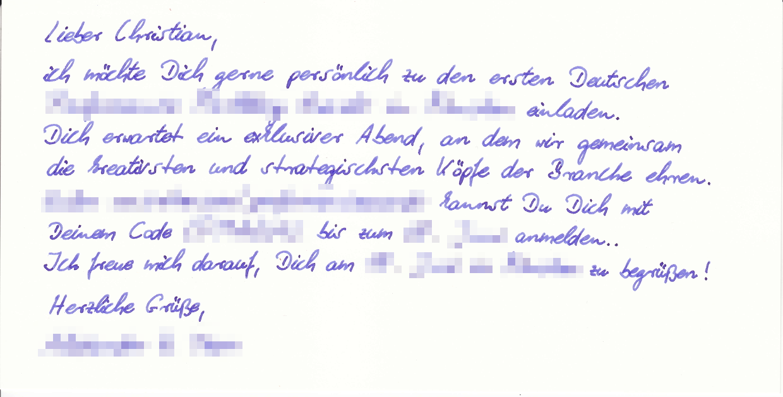 Exklusive Einladungskarten in Handschrift 580 Zeichen im Kuvert von Pensaki