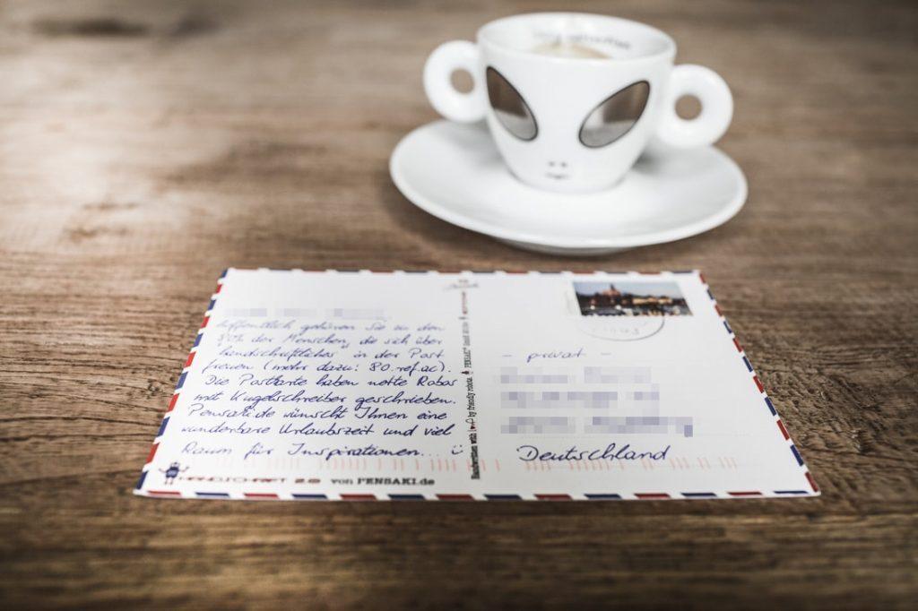 Postkarte in Handschrift DIN A6 mit Kugelschreiber von Pensaki