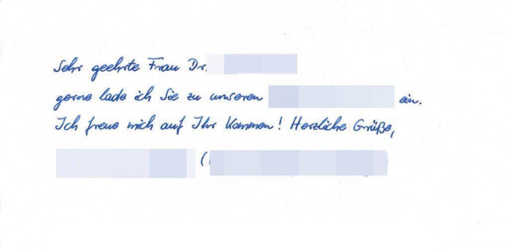 Einladungskarte in Handschrift von Pensaki