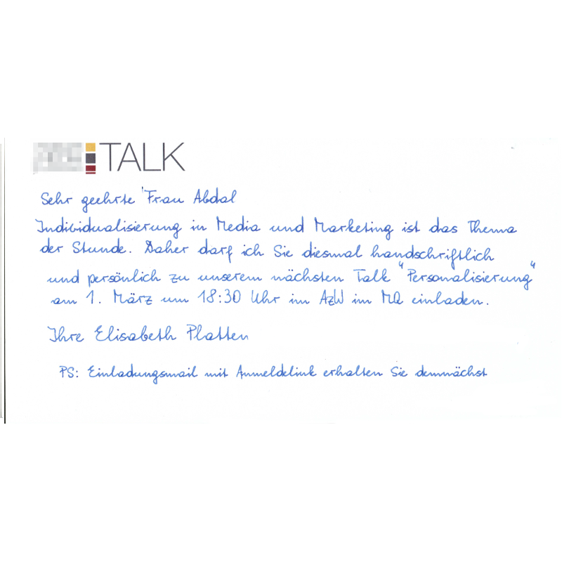 Einladungskarte in Handschrift 400 Zeichen von Pensaki