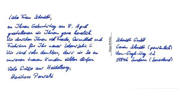 Kundenrückgewinnung mit Postkarten in Handschrift von Pensaki