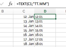 Die TEXT-Funktion konvertiert Zahlen in Text